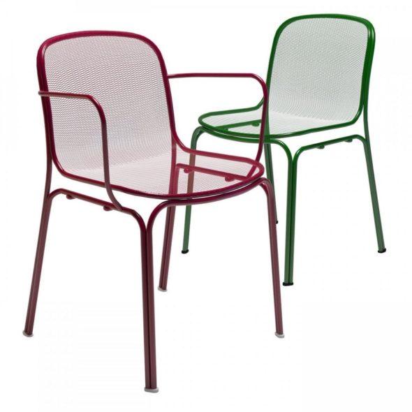 Chaises Villa rouge et verte avec ou sans accoudoirs - COLOS