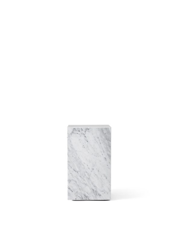 Table basse Plinth Tall Marbre Carrara blanc - MENU