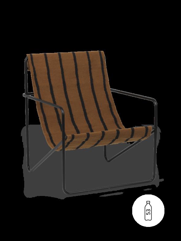 Fauteuil Desert Lounge Tissu Marron Bayadère structure noire- Fermliving