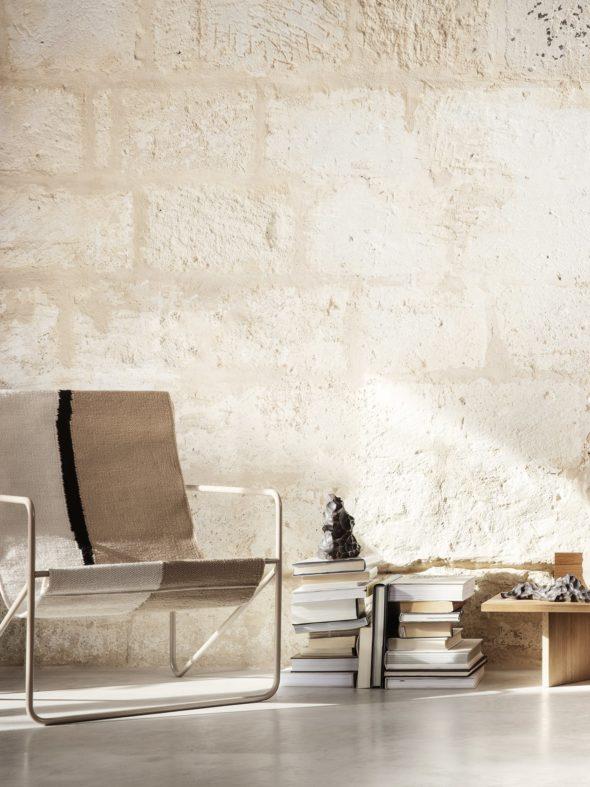 Fauteuil Desert Lounge Tissu Soil structure brun cachemire - Fermliving