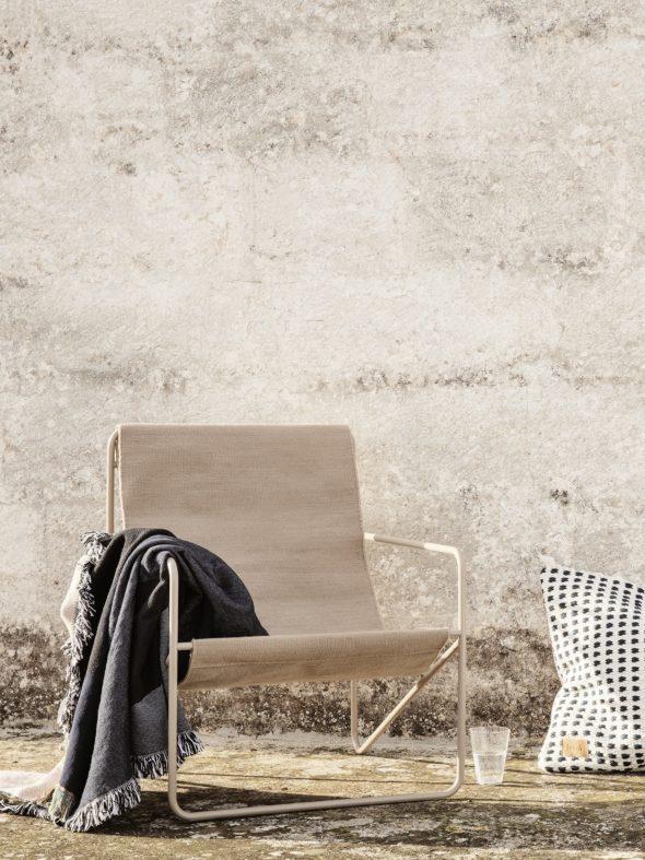 Fauteuil Desert Lounge Tissu Sable structure brun cachemire - Fermliving