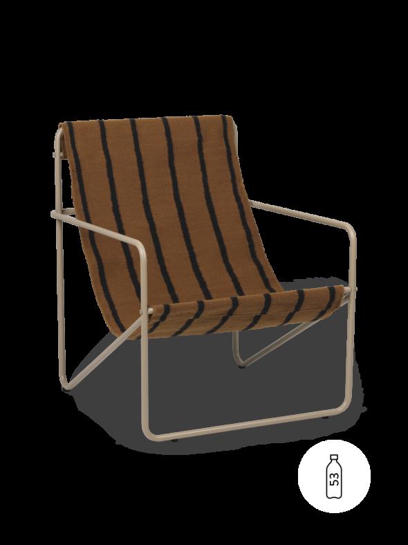 Fauteuil Desert Lounge Tissu Marron Bayadère structure brun cachemire - Fermliving