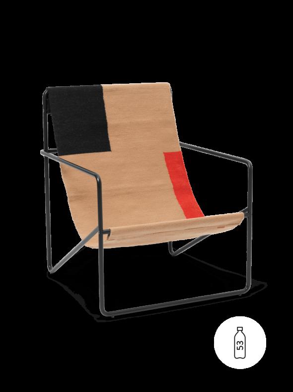 Fauteuil Desert Lounge Tissu Block structure noire- Fermliving