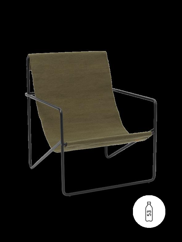 Fauteuil Desert Lounge Tissu Olive structure noire- Fermliving